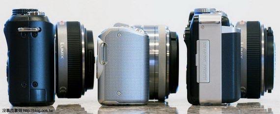 側身厚度比較,由左至右: GF1, NEX-5, E-PL1