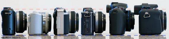 側身厚度比較,由左至右: GF1, NEX-5, E-PL1, E-P2, NX10, G2