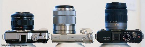 機身厚比較(變焦鏡),由左至右: E-PL1, NEX-5, GF1