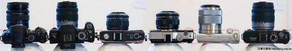 機身厚比較(變焦鏡),由左至右: NX10, G2, E-P2, E-PL1, NEX-5, GF1